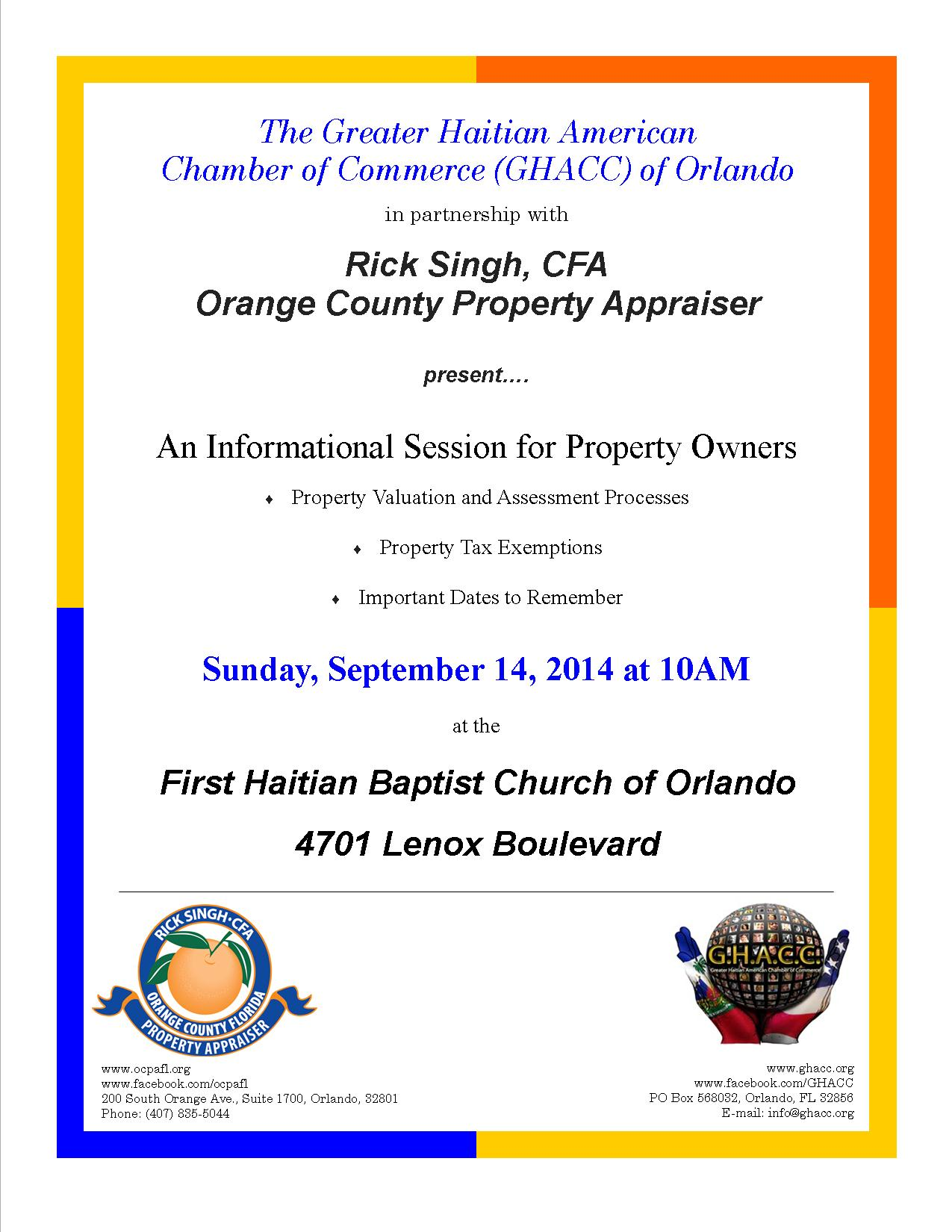 GHACC Orlando & Rick Singh, OCPA: An Informational Session for Property Owners