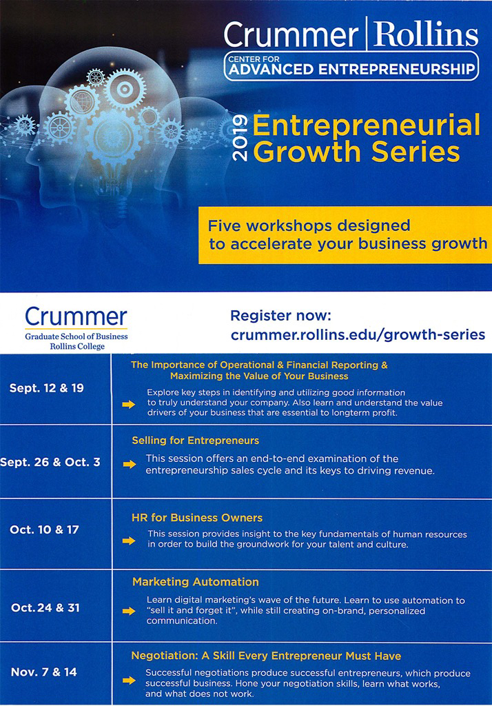 Crummer 2019 Entrepreneurial Growth Series Flyer